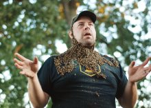 A bee beard demonstration at the Philadelphia Honey Festival at Glenn Foerd.