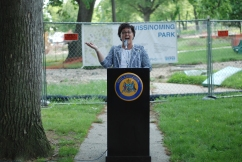 Parks and Recreation Commissioner Kathryn Ott Lovell at Wissinoming Park Groundbreaking