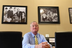 Philadelphia Mayor Jim Kenney sits in Bisho's, an immigrant-owned restaurant in Northeast Philadelphia.